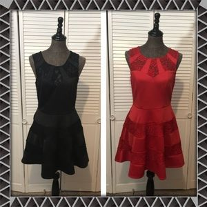 2 Trixxi Red & Black Scuba Dresses